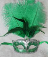 Green and Silver Tall Feather Mask